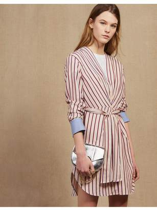 7953657b1db Sandro Long-Sleeved Striped Short Dress