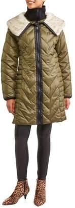 30 FIRST Women's Chevron Puffer Coat with Faux Fur Trim Collar