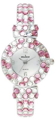 Peugeot Women's Silver Hand Set Clear & Pink Crystal Glitz Mother of Pearl Cuff Bangle Bracelet Jewelry Watch 326RS