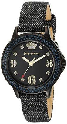 Juicy Couture Black Label Women's Swarovski Crystal Accented Black and Denim Strap Watch