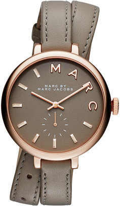 Marc Jacobs Women's Sally Taupe Double Wrap Leather Strap Watch 36mm MBM8661 $225 thestylecure.com