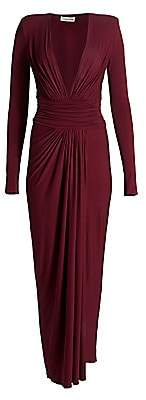Alexandre Vauthier Women's Gathered Jersey Plunging Long-Sleeve Gown