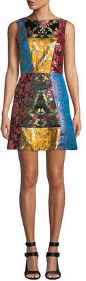 Alice + Olivia Malin Patchwork Short Dress