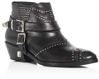 Anine Bing Women's Bianca Studded Leather Mid Heel Booties