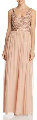 Adrianna Papell Embellished Tulle Gown