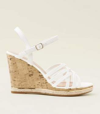 New Look Wide Fit White Espadrille Trim Cork Wedges
