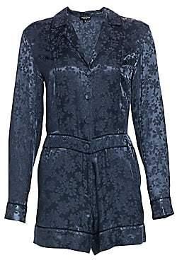 Rag & Bone Women's Jarvis Floral Jacquard Long-Sleeve Romper - Size 0