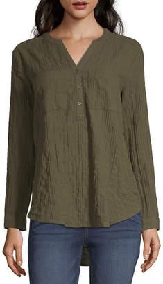 A.N.A Womens Long Sleeve Button-Front Shirt-Tall