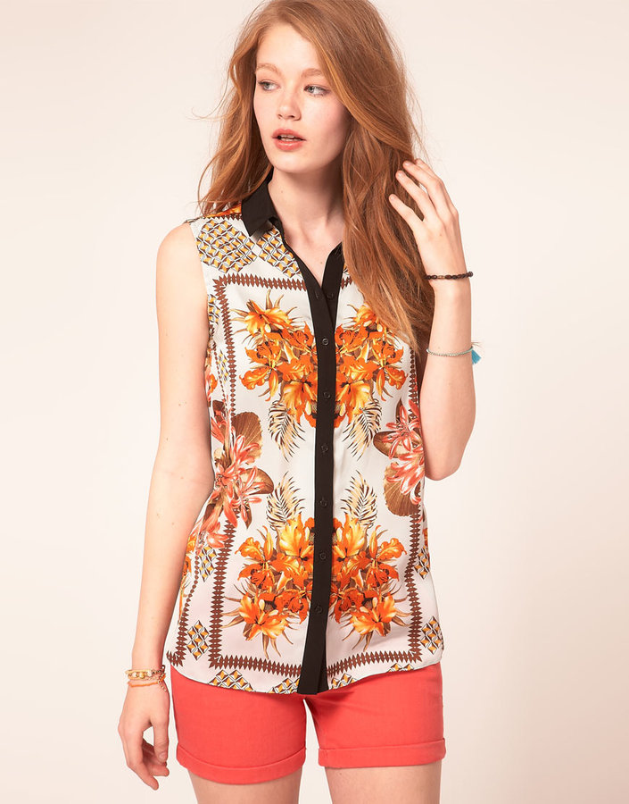 River Island Tropical Print Shirt