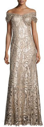 Tadashi Shoji Off-the-Shoulder Embellished Lace Gown, Ginseng/Natural $608 thestylecure.com