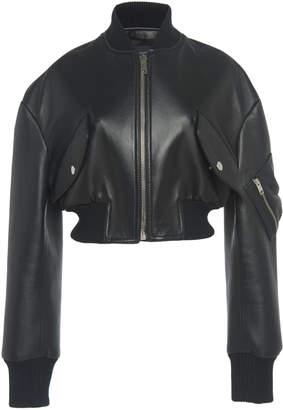 Giambattista Valli Cropped Leather Bomber Jacket