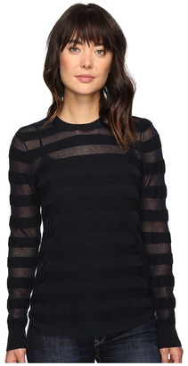 MICHAEL Michael Kors - Sheer Stripe Long Sleeve Crew Women's Clothing $88 thestylecure.com