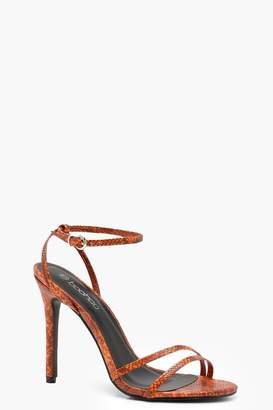 boohoo Snake Effect Skinny Strap Pointed Heels