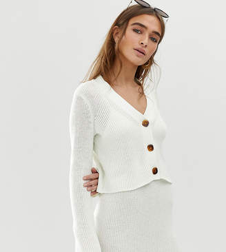 Asos DESIGN Petite two-piece v neck crop chunky cardigan in eco yarn