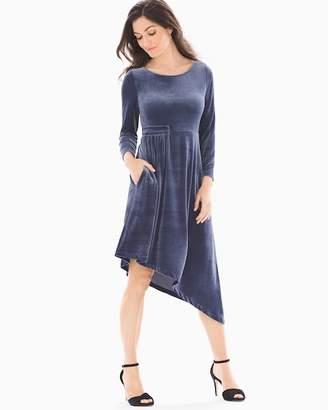 Velvet Asymmetrical Hem Midi Dress