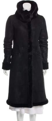 Prada Mink-Trimmed Shearling Coat