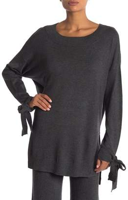 Shimera Rib Trim Tie Sleeve Hi-Lo Sweater