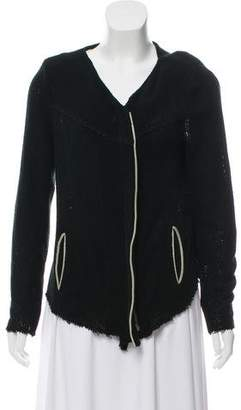 IRO Leather-Trimmed Knit Jacket