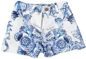 Roberto Cavalli Baroque Printed Cotton Satin Shorts