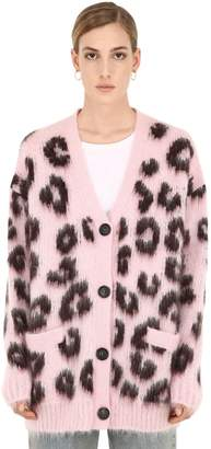 Miu Miu Oversized Leopard Intarsia Knit Cardigan
