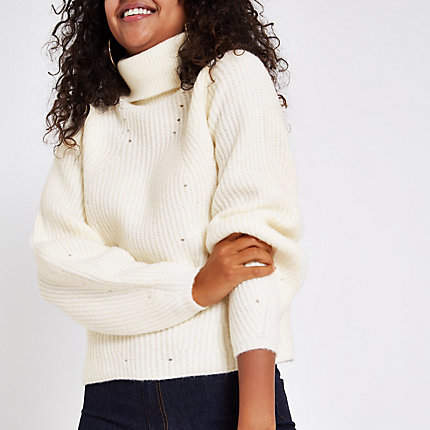 Womens Cream knit roll neck jumper