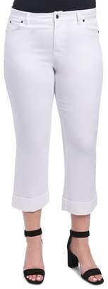 Foxcroft Aurora Cuffed Crop White Jeans