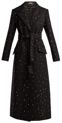 Miu Miu Crystal Embellished Single Breasted Wool Coat - Womens - Black