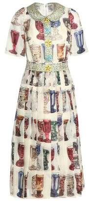 Dolce & Gabbana Embellished Pleated Printed Silk-organza Midi Dress