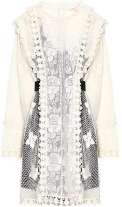 Maje Embroidered Cotton Lace Mini Dress