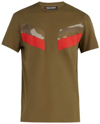 Neil Barrett Modernist crew-neck camouflage-panel T-shirt