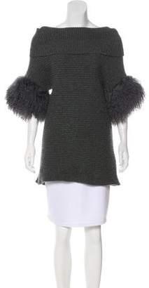 Ballantyne Fur-Trimmed Cashmere Sweater