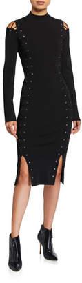McQ Lace-Up Split-Shoulder Midi Dress