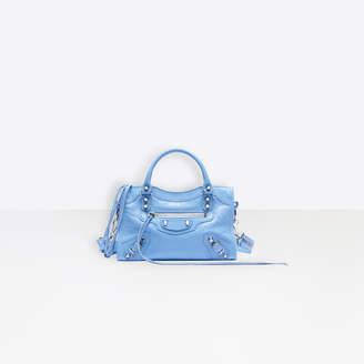 Balenciaga Classic City Mini Shoulder bag in light blue Arena leather, black logo strap, semi-shiny palladium hardware