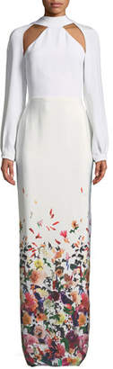 Cushnie et Ochs Davina Long-Sleeve Cutouts Floral-Ombre Long Evening Gown