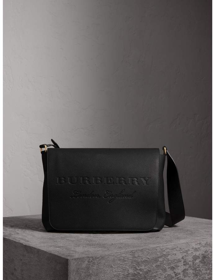 Burberry Large Embossed Leather Messenger Bag