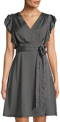 philosophy Faux-Wrap Polka-Dot A-Line Dress