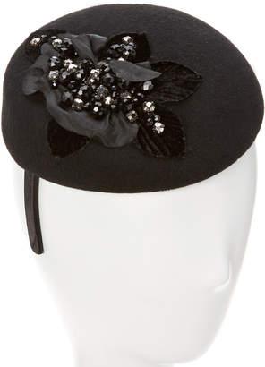 Giovannio Couture Black Wool Pillbox On Headband