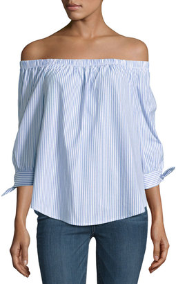Bobeau Off-the-Shoulder Striped Top, Blue/White $49 thestylecure.com