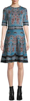 M Missoni 1/2-Sleeve Shimmer Intarsia Fit & Flare Dress