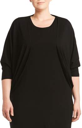 Toni T by Toni Plus Three-Quarter-Sleeve Jersey Cover Up