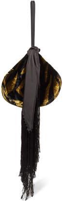 Hillier Bartley Lantern Zebra-print Velvet And Leather Pouch