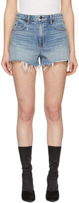 Alexander Wang Indigo Denim Cut-Off Bite Shorts