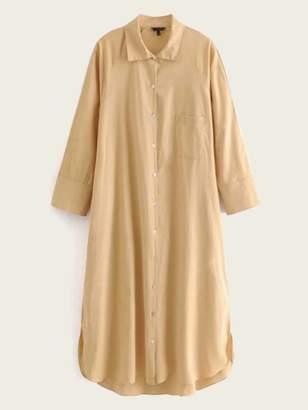 Shein Raglan Sleeve Slit Curved Hem Linen Shirt Dress