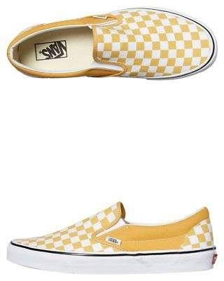 Vans New Women's Womens Classic Slip On Checkerboard Shoe Rubber Canvas Yellow