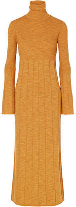 Elizabeth and James Clementine Ribbed Merino Wool Turtleneck Maxi Dress - Marigold