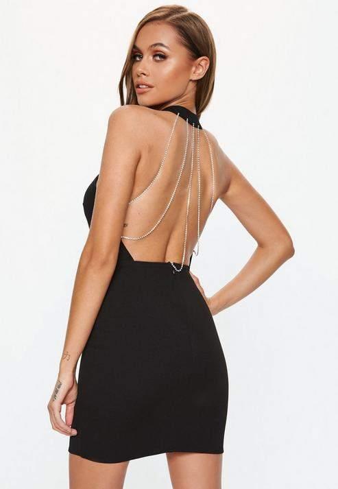 Black Diamante Back High Neck Mini Dress, Black