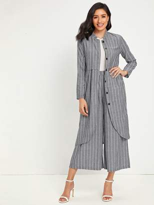 Shein Striped Button Front Midi Coat With Culotte Pants