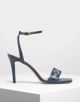 Charles & Keith Gold Eyelet Detail Stiletto Heels