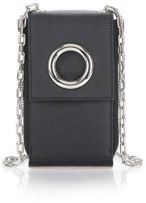 Alexander Wang RIOT SHOULDER WALLET IN MATTE BLACK WITH RHODIUM SMALL LEATHER GOOD