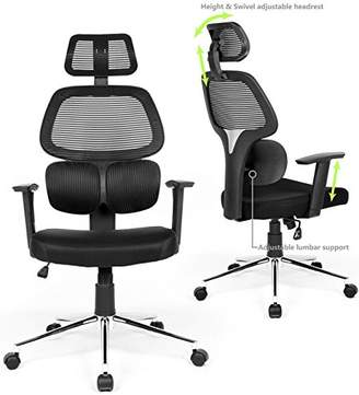 Ergonomic Mesh Office Chair High Back Swivel Computer Desk Chair Office Task Rolling Chairs with Lumbar Support Adjustable Backrest Headrest Armrest and Seat Height for Home Office Conference Room